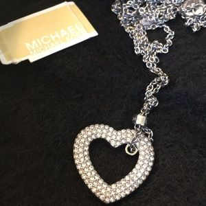 Michael kors brilliance silver heart pendant